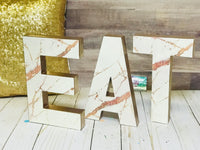 Rose Gold Marble EAT Home Decor Letters - 8 inch - Itty Bits Designs