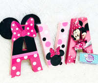 Pink Polka Dot Mouse Themed Birthday Letters - 8 Inch - Itty Bits Designs