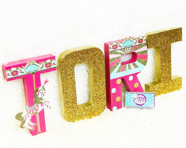 Bright Carousel Themed Birthday Letters - Itty Bits Designs