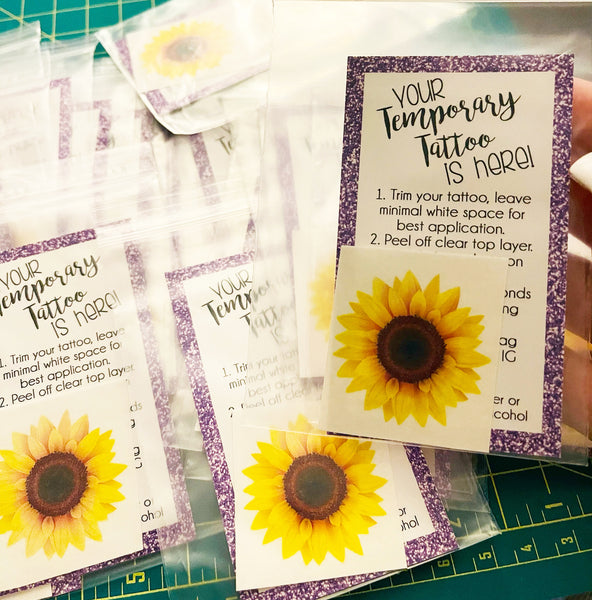Sunflower Temporary Tattoos - Set of 25
