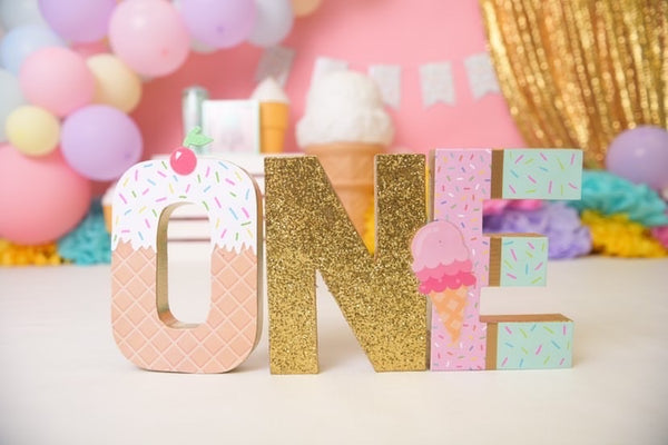 Ice Cream First Birthday Letters - Itty Bits Designs