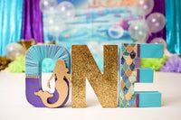 Mermaid First Birthday Letters - Itty Bits Designs