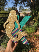 6 INCH WOOD Glitter Mermaid Add On - Itty Bits Designs