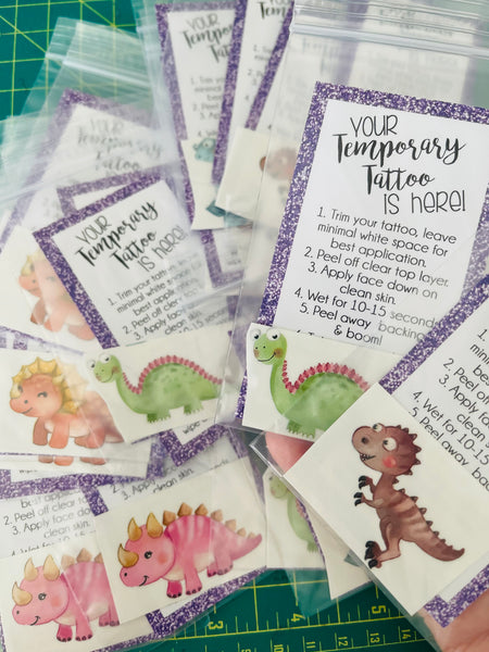 Cute Dinosaurs Temporary Tattoos - Set of 25