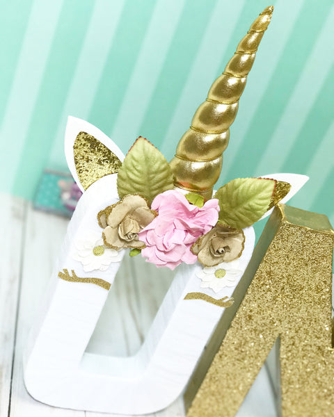 Unicorn Floral and Horn Add On for Party Letter & Nursery Decor - Itty Bits Designs