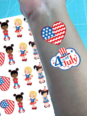 Americana Girls Temporary Tattoos - Set of 25
