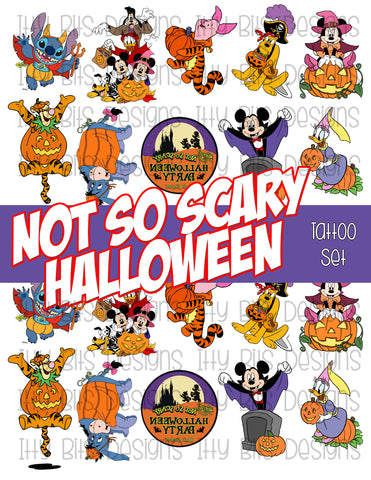 Not So Scary Halloween Tattoo grab bag - Halloween Cartoon Party Favors - Itty Bits Designs