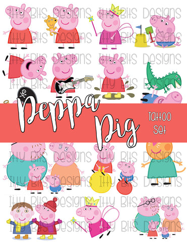 P. Pig Tattoos - British Pig Cartoon Party Favors - Itty Bits Designs