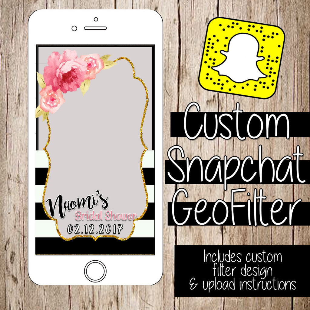 Buy CUSTOM SnapChat filter for Parties at Itty Bits Designs