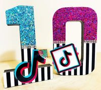 Tik Tok Glitter Number - 8 Inch Themed Number