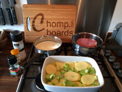 Chompboards.com - Home made Potato Gratins, Gammon Steak & Veggies