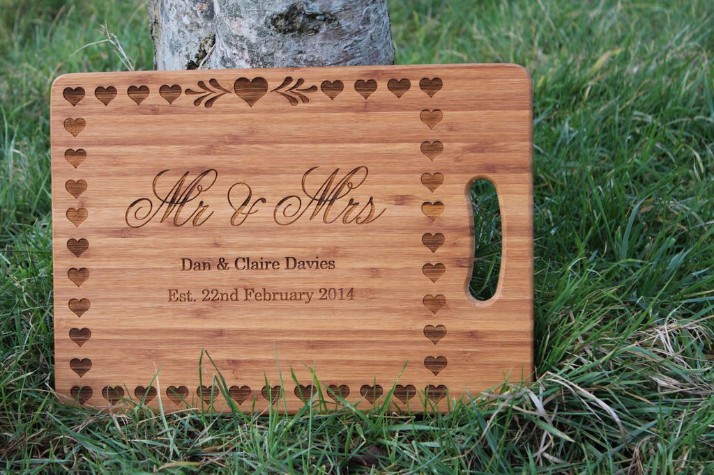Chompboards.com - [product_type ] - 'Mr & Mrs' Hearts Wedding Personalised Chopping Board