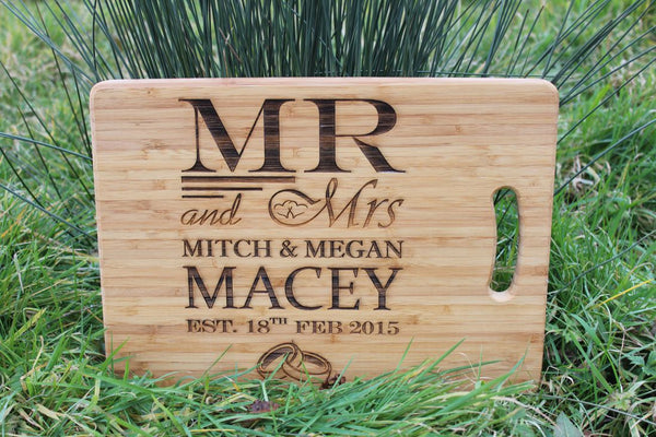 Chompboards.com - [product_type ] - 'Wedding Rings MR & MRs' Personalised Chopping Board