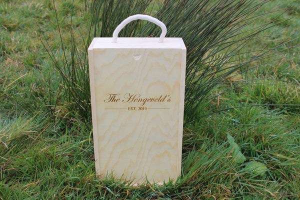 Chompboards.com - [product_type ] - 'Family Name & Wedding Date' Double Rope Handle Personalised Wooden Wine Gift Box