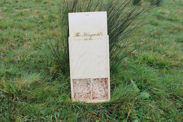 Chompboards.com - [product_type ] - 'Family Name & Wedding Date' Double Personalised Wooden Wine Gift Box