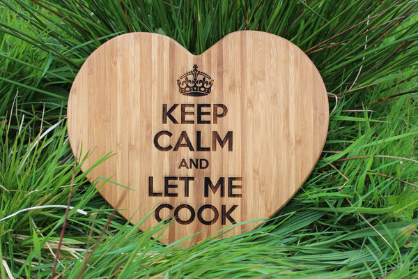 Chompboards.com - [product_type ] - 'KEEP CALM' Heart Shape Personalised Chopping Board