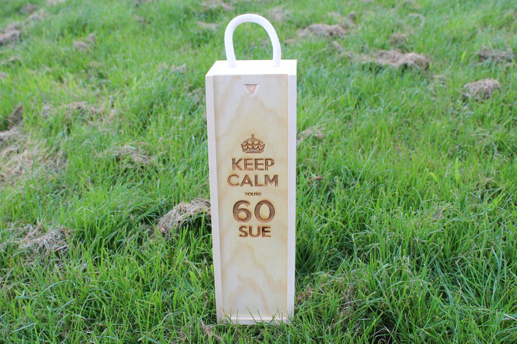 Chompboards.com - [product_type ] - 'Keep Calm Birthday & Name' Single Personalised Wooden Wine Gift Box