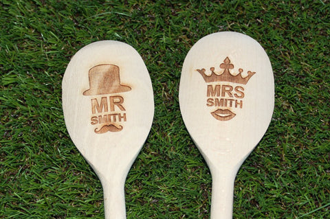 Chompboards.com - [product_type ] - 'Mr & Mrs Surname' Personalised Wooden Spoon Set