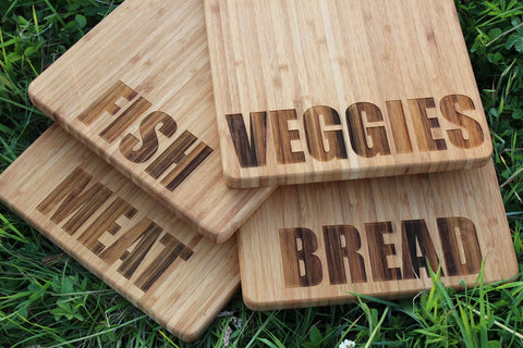 Chompboards.com - [product_type ] - 'Fish, Meat, Bread, Veggies' Personalised Chopping Boards (Singles or Set)