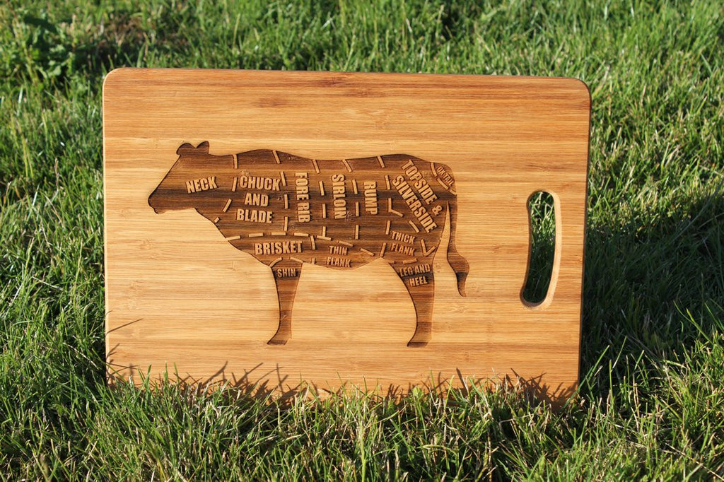 Chompboards.com - [product_type ] - 'British Beef Cow Steak Cuts' Personalised Chopping Board