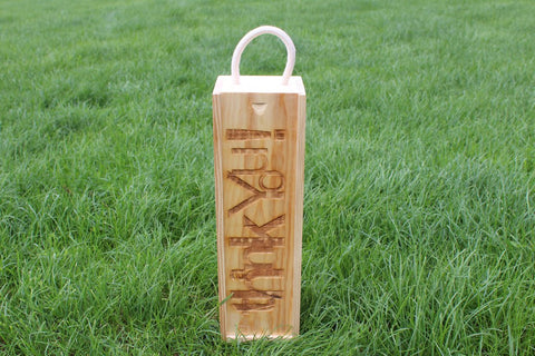 Chompboards.com - [product_type ] - 'Thank You!' Single Rope Handle Personalised Wooden Wine Gift Box