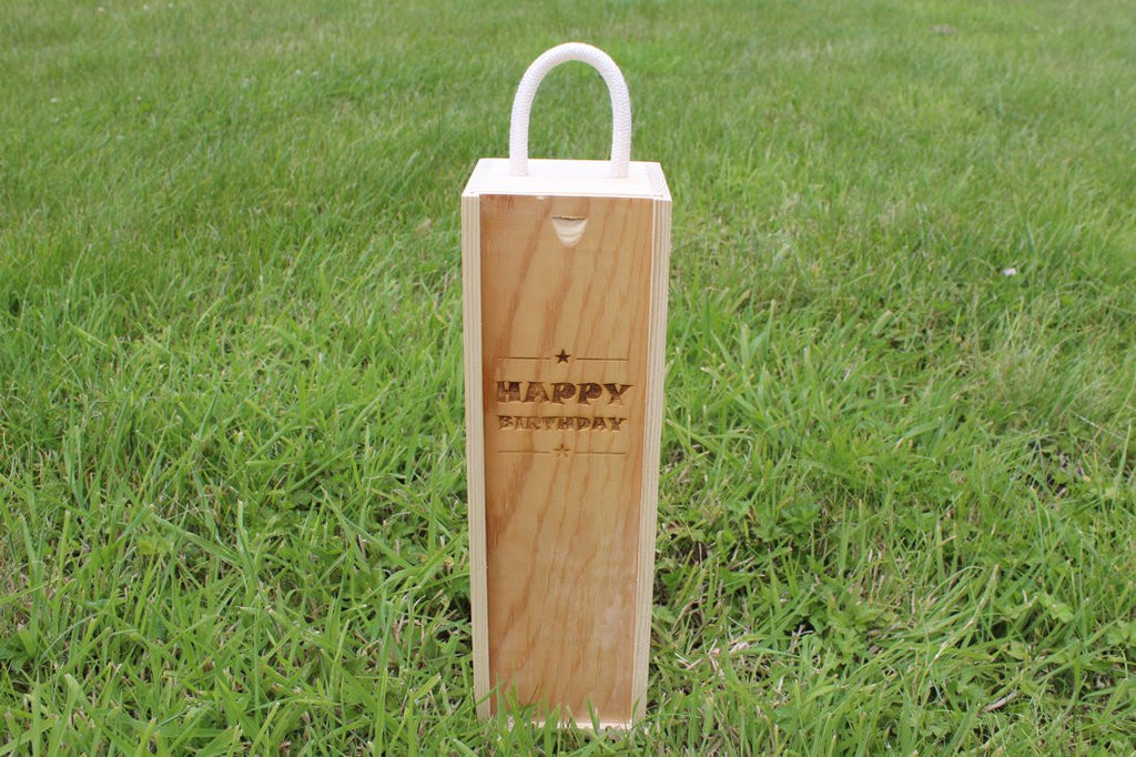 Chompboards.com - [product_type ] - 'Happy Birthday (Stars Edition)' Single Personalised Wooden Wine Gift Box