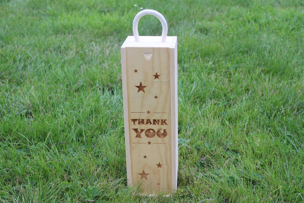 'Thank You (Stars Edition)' Single Personalised & Engraved Wooden Wine Gift Box