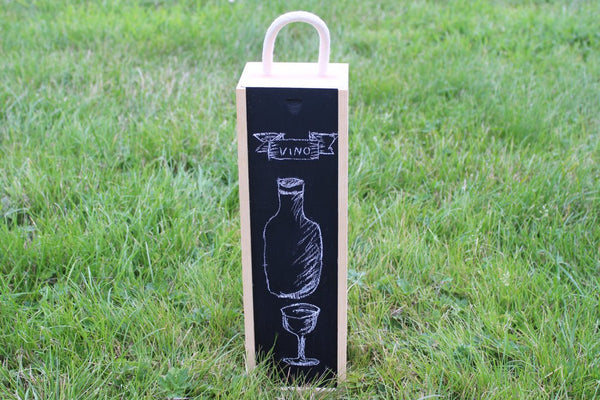 Chompboards.com - [product_type ] - Blackboard / Chalkboard (includes chalk) Single Wooden Wine Box - Make your own design! (With Gift Tag)