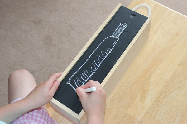 Blackboard / Chalkboard (includes chalk) Single Wooden Wine Box & Gift Tag – Make Your Own Design!