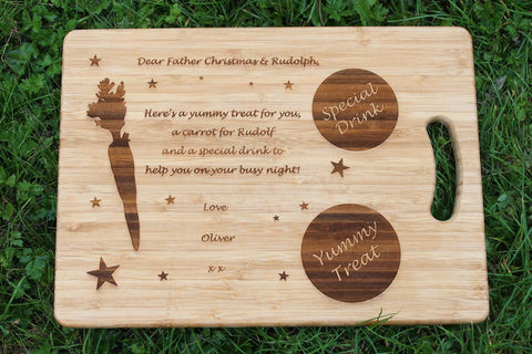 'Christmas Eve, Santa & Rudolph' Personalised & Engraved Board / Serving Tray / Plate