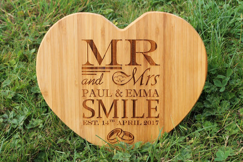 'Wedding Rings MR & MRs' Heart Shape Personalised & Engraved Chopping Board