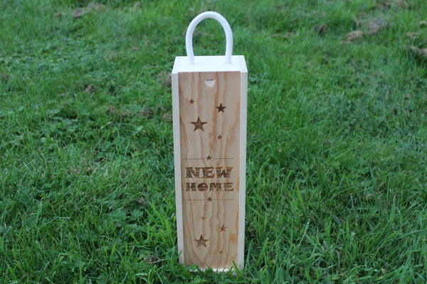 'New Home (Stars Edition)' Single Personalised & Engraved Wooden Wine Gift Box