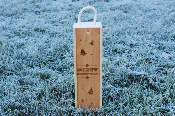 'Christmas (Stars, Trees & Baubles)' Single Personalised & Engraved Wooden Wine Gift Box