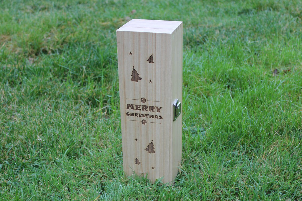 'Christmas (Stars, Trees & Baubles)' Hinged Single Personalised & Engraved Wooden Wine Gift Box