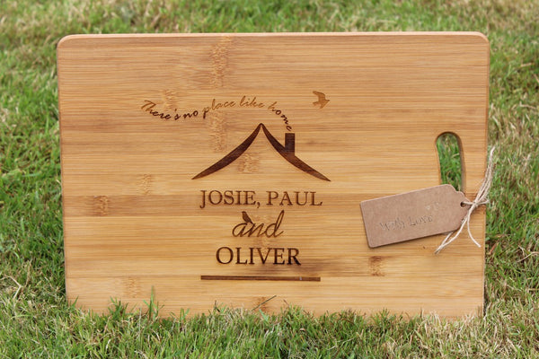 """There's No Place Like Home"" Personalised Chopping Board"