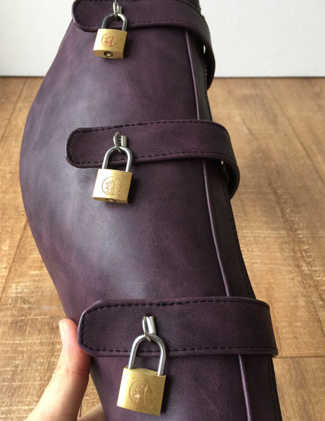 18cm 10 keys Lockable Beginner Ballet Wedge Boot Heelless Fetish Purple Rub-Off