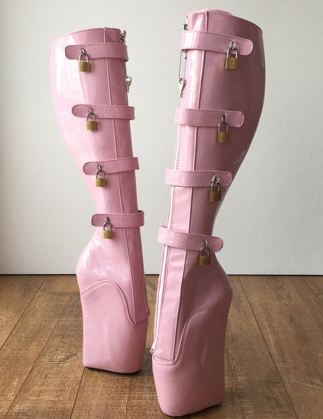 18cm 10 keys Lockable Beginner Ballet Wedge Boot Hoof Heelless Fetish Light Pink