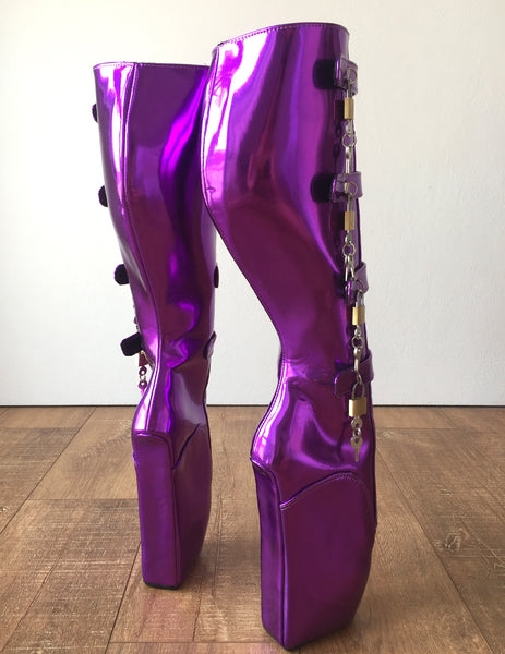 18cm 10 keys Lockable Beginner Ballet Wedge Boot Heelless Fetish Purple Metallic