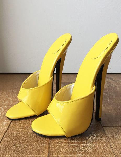 18MULE Sexy Mistress Hi Heel Stiletto Fetish Slipper Slides Mule Yellow Patent