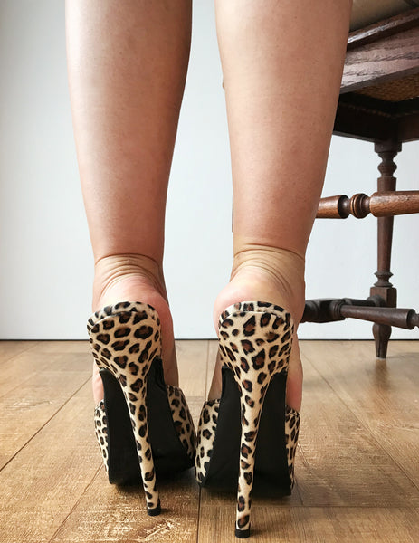 18MULE Leopard Matte Sexy Mistress Hi Heel Stiletto Fetish Slipper Slides Mule