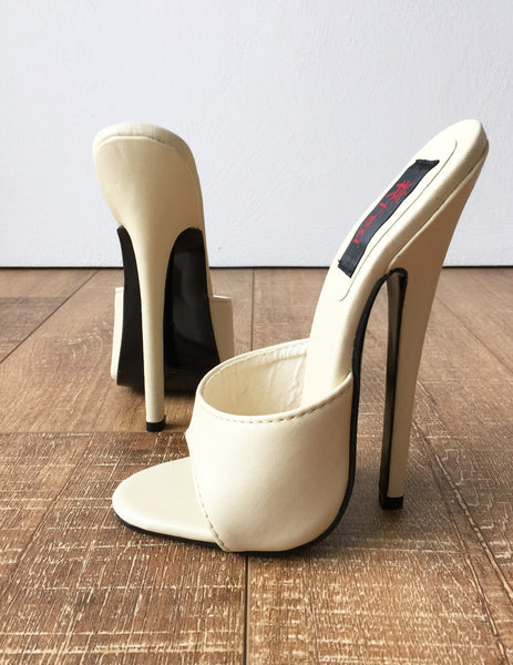 18MULE 18cm Hi Heel Stiletto Fetish Slipper Slides Cream Sexy Mistress