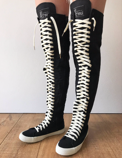 RTBU OREO 35 Hole Punk Goth Thigh Hi Canvas Laceup Zip Sneaker Boot Black