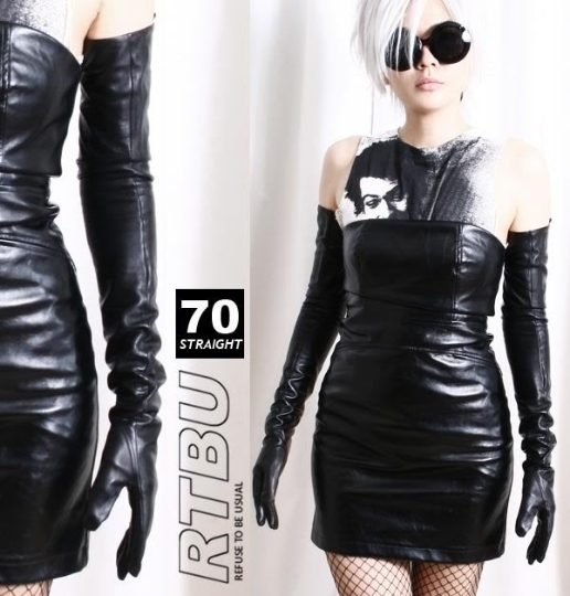 70cm Over Shoulder Genuine Leather Runway Accessory Fetish Pinup Slouchy LARP Long Glove