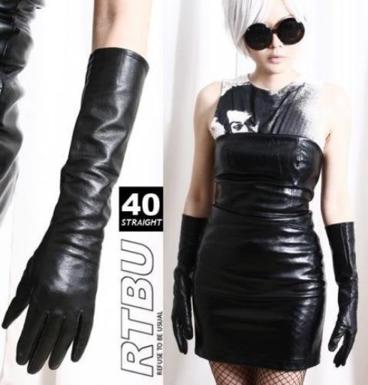 40cm Below Elbow Genuine Leather Runway Fashion Eveining Formal Coat Gloves