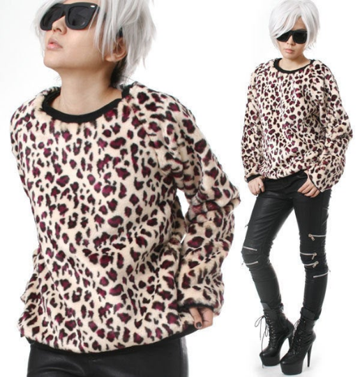 RTBU Glam Punk Rock Slouchy Boyfriend Leopard Faux Fur Furry Jumper Sweatshirt