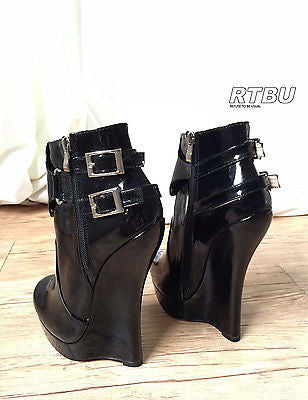 18cm Heeless Hoof Sole Gothic Patent Fetish Platform Buckle Strap Ankle Bootie