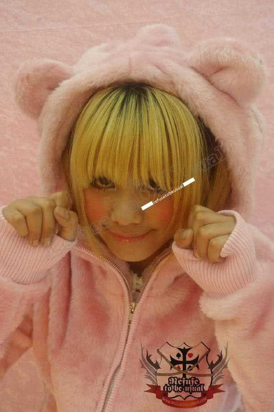 Pink Q BEAR 1/3 Mask Teddy Ear Hoody Punk Plush Faux Fur Parka Jacket Lined