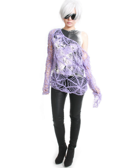 RTBU Gothic Kawaii Cutie Punk Cobweb Spider Web Net Acrylic Mohair Knitted Crochet Sweater Slouchy Off Shoulder Pastel Purple