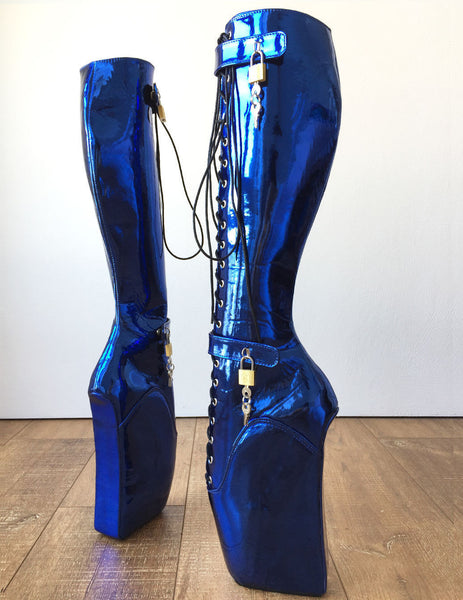 18cm Beginner Metallic Blue Heelless Fetish Punk Goth Pinup Ballet Lockable Boot