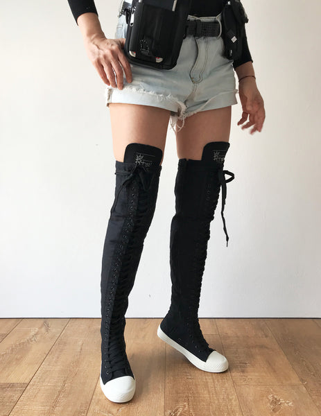 RTBU Ivory Frosting 35 Hole Punk Thigh Hi Black Canvas Lace Up Sneaker Boots